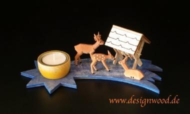 Bausatz-Teelichtleuchter-Rehkrippe