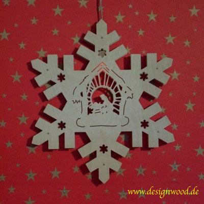 Weihnachtsstern-Schneekristall-Krippe