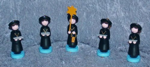 5er Set Kurrendefiguren 8cm schwarz/blau