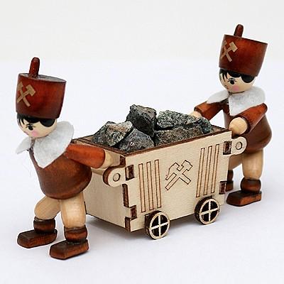 Bergleute mit Lore 6cm