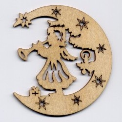 Laubsägezubehör Aus Dem Erzgebirge Baumbehang Mond Mit Engel Und